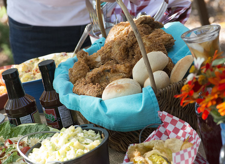 fried chicken platter set up for outdoor catering