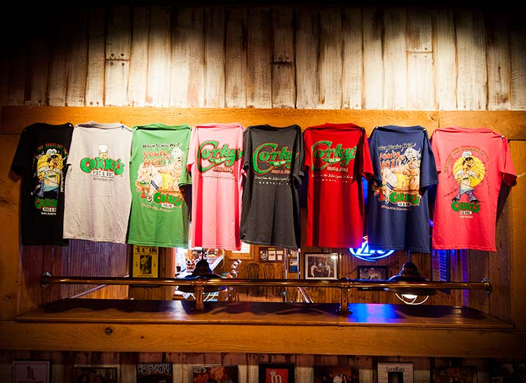 full collection of Corky's t-shirts